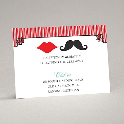 Moustache Kisses - Cherry - Reception Card