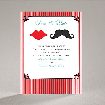 Moustache Kisses - Cherry - Save the Date Card