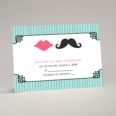 Moustache Kisses - Surf - Response Card and Envelope
