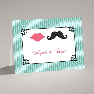 Moustache Kisses - Surf - Thank You Card and Envelope
