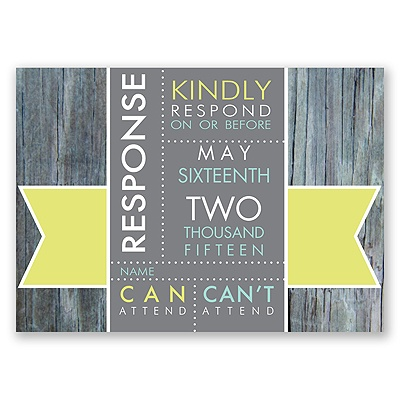 Rustic Banner - Limelight - Response Card and Envelope