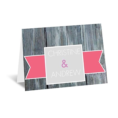 Rustic Banner - Posie Pink - Note Card and Envelope