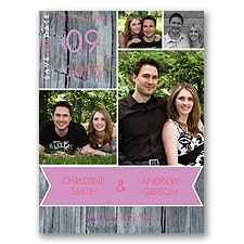 Rustic Banner - Posie Pink - Save the Date Card