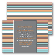 Chic Pinstripe - Pewter - Invitation