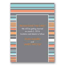 Chic Pinstripe - Pewter - Save the Date Card