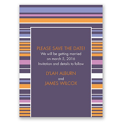 Chic Pinstripe - Raisin - Save the Date