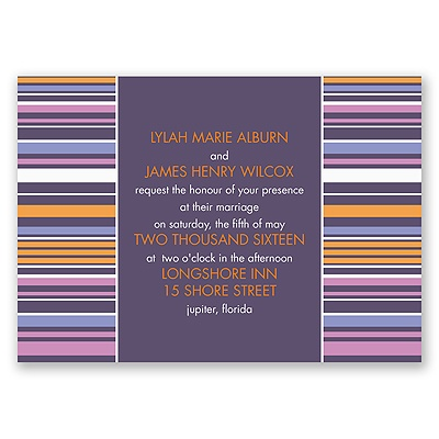 Chic Pinstripe - Raisin - Invitation