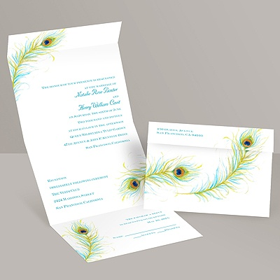 Watercolor Peacock - Seal and Send Invitation