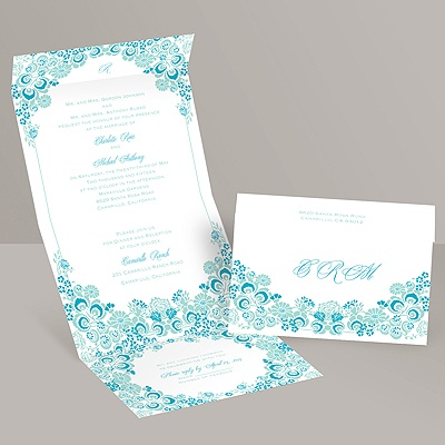 Flower Frame - Aqua - Seal and Send Invitation