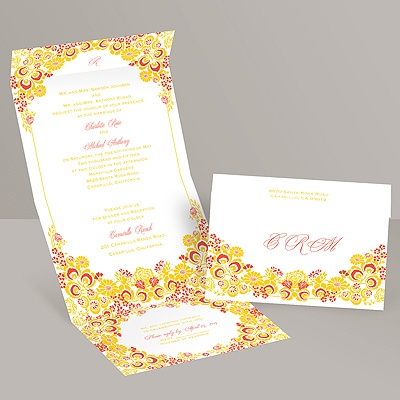Flower Frame - Citrus - Seal and Send Invitation