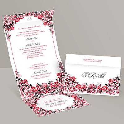 Flower Frame - Cherry - Seal and Send Invitation
