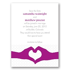 Heart Hands - Amethyst - Save the Date Card