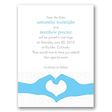 Heart Hands - Celestial Blue - Save the Date Card