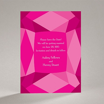 Facets - Fuchsia - Save the Date Card