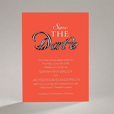 Sassy Stripes - Tango - Save the Date Card