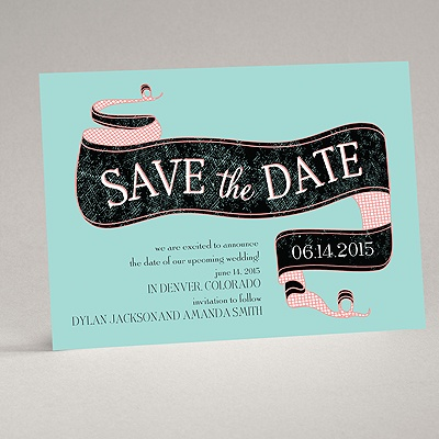 Vintage Banner - Aqua - Save the Date Card
