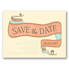 Vintage Banner - Ecru - Save the Date Card