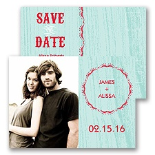 Wood Grain - Aqua - Save the Date Postcard