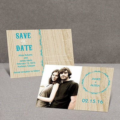 Wood Grain - Champagne - Save the Date Postcard