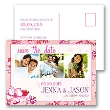 Magnolia Blossoms - Fuchsia - Save the Date Postcard