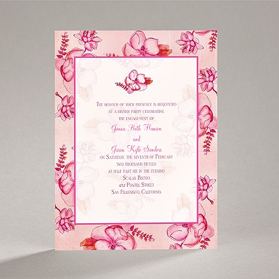 Magnolia Blossoms - Fuchsia - Engagement Party Invitation