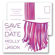 Streamers - Grapevine - Save the Date Postcard