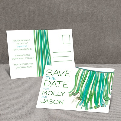 Streamers - Kelly Green - Save the Date Postcard