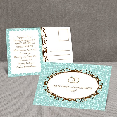 Double Ring - Aqua - Engagement Party Postcard