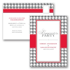 Retro Houndstooth - Engagement Party Postcard