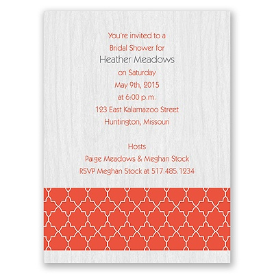 Wooden Lattice - Bridal Shower Invitation