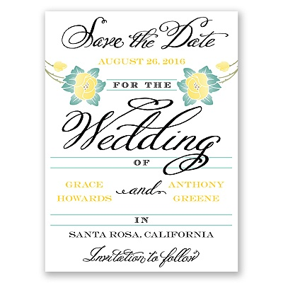 Blooming Beauty - Citrus - Save the Date Card