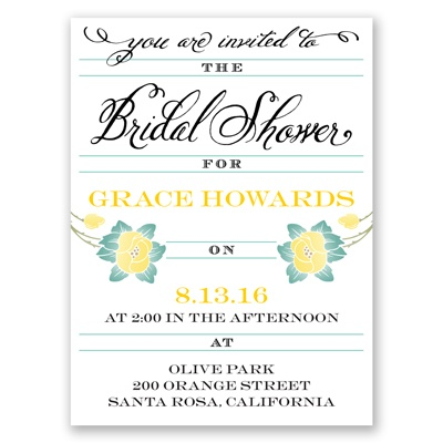 Blooming Beauty - Citrus - Bridal Shower Invitation