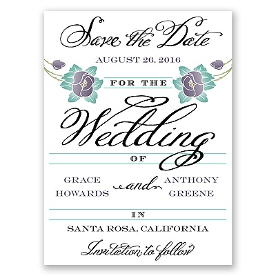 Blooming Beauty - Raisin - Save the Date Card