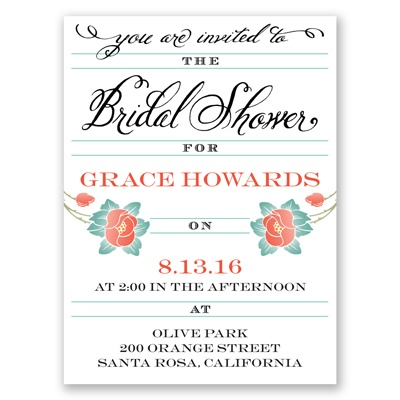 Blooming Beauty - Tango - Bridal Shower Invitation