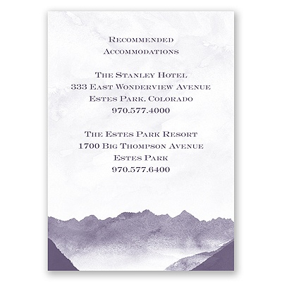 Mountain Mist - Accommodation Card