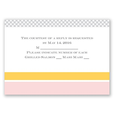 Patchwork Gingham - Cotton Candy - Response Card and Envelope