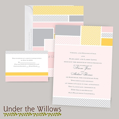 Patchwork Gingham - Cotton Candy - Invitation
