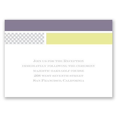Patchwork Gingham - Limelight - Reception Card