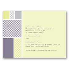 Patchwork Gingham - Limelight - Save the Date Card