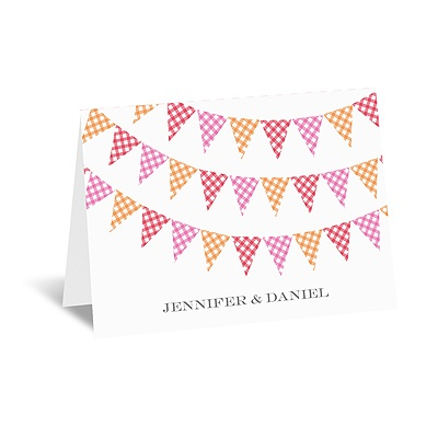 Gingham Banner - Cherry - Note Card and Envelope