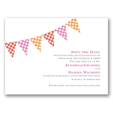 Gingham Banner - Cherry - Save the Date Card