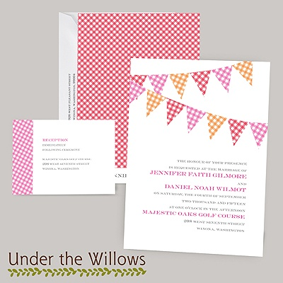 Gingham Banner - Cherry - Invitation