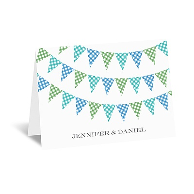 Gingham Banner - Peacock - Note Card and Envelope