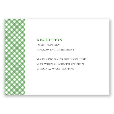 Gingham Banner - Peacock - Reception Card