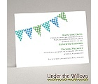 Gingham Banner - Peacock - Save the Date Card