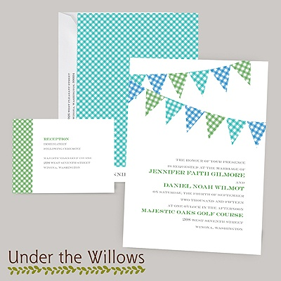 Gingham Banner - Peacock - Invitation