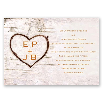 Carved in Love - Terra Cotta - Invitation