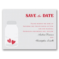 Jar of Hearts - Grey - Save the Date Card