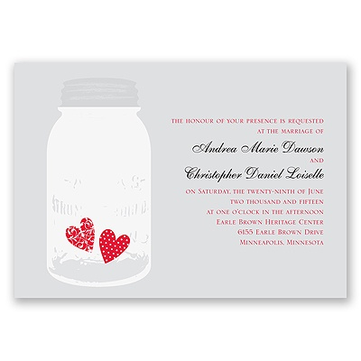 Jar of Hearts - Grey - Invitation
