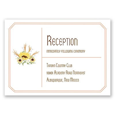 Country Sunflowers - Corabell - Reception Card